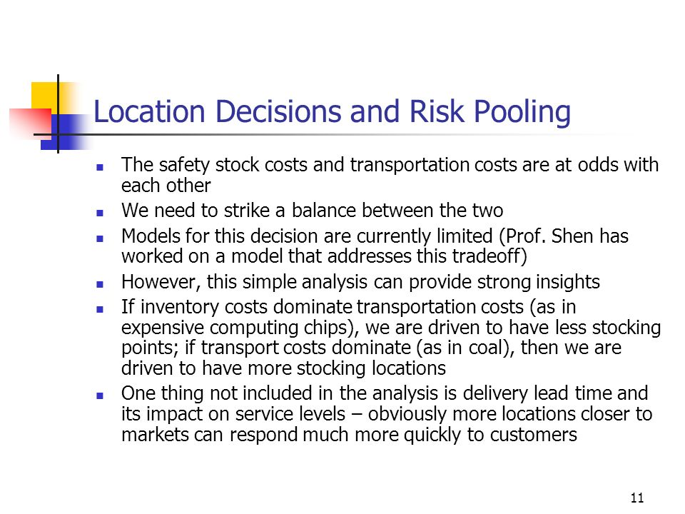 11 Location Decisions and Risk Pooling The safety stock costs and transportation costs are at odds with each other We need to strike a balance between