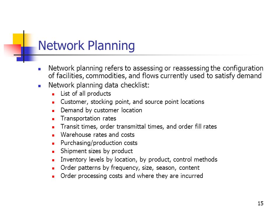 15 Network Planning Network planning refers to assessing or reassessing the configuration of facilities, commodities, and flows currently used to sati