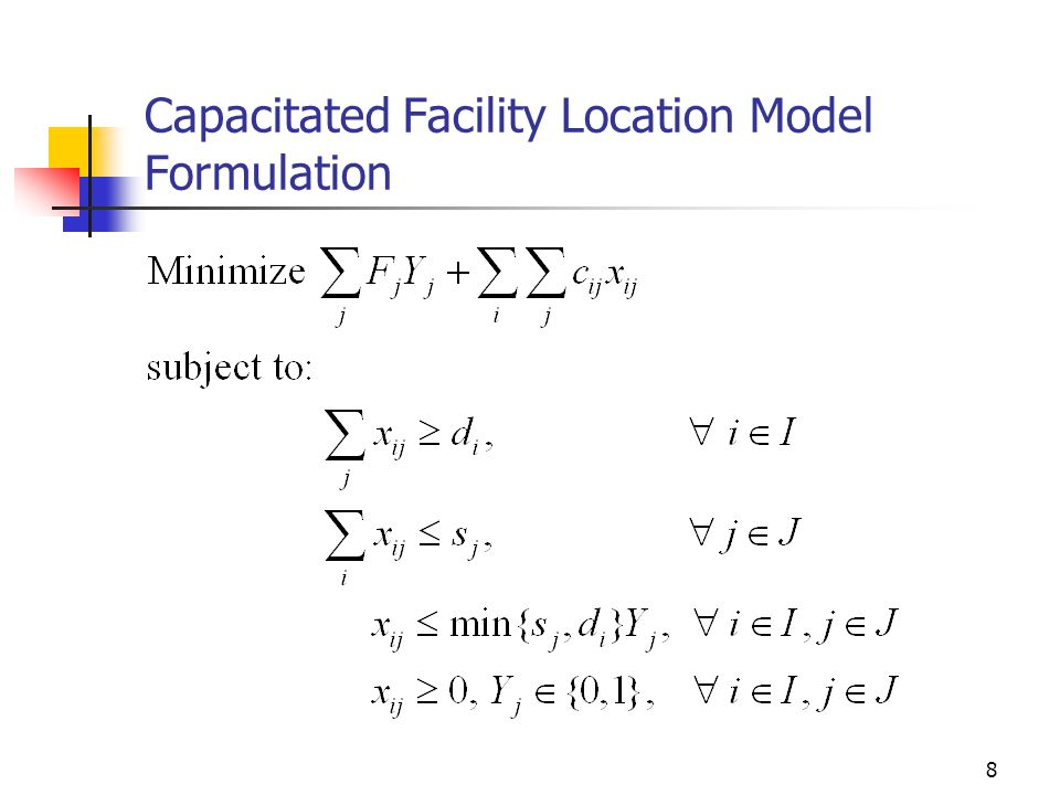 8 Capacitated Facility Location Model Formulation
