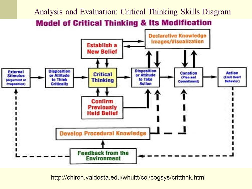 Analysis and Evaluation: Critical Thinking Skills Diagram http://chiron.valdosta.edu/whuitt/col/cogsys/critthnk.html