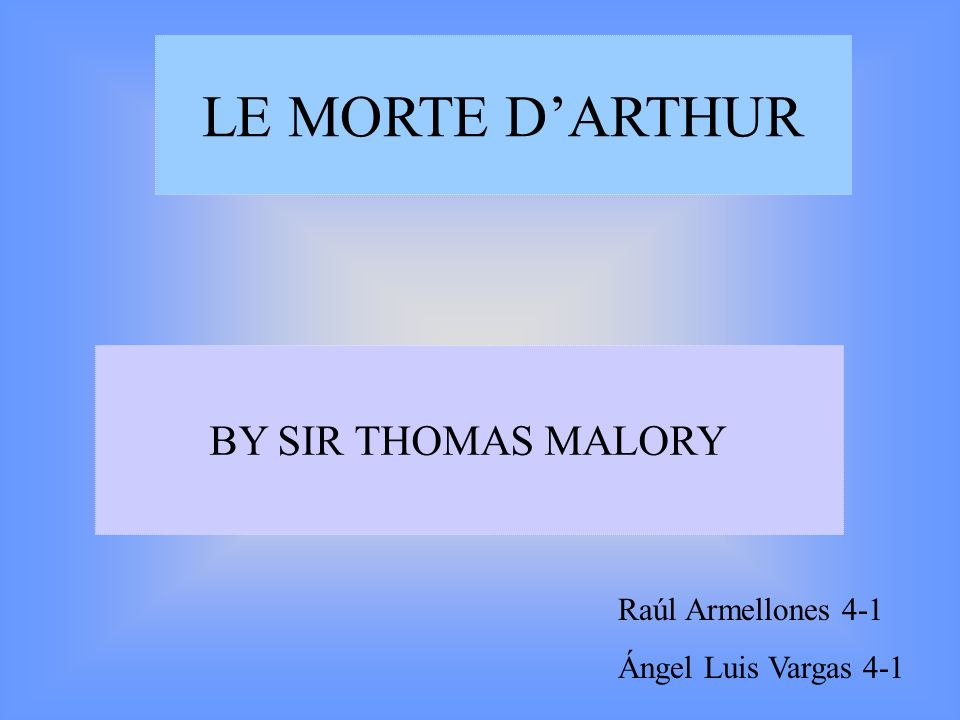 1.– Malorys biography 2.- Characters 3.- The story 4.- Links INDEX