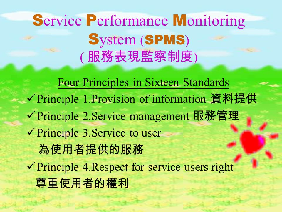 S ervice P erformance M onitoring S ystem ( SPMS ) ( ) SQS: Define the policy procedures and practices which a service unit should have in place