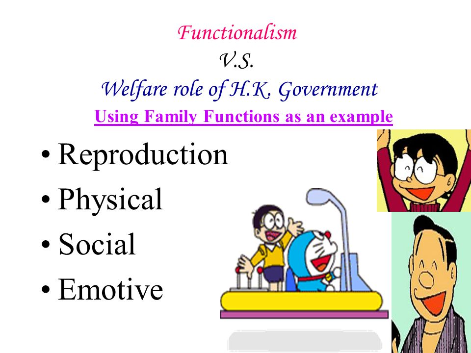 Functionalism V.S. H.K. government welfare role Explanation of Functionalism Solidarity Stability
