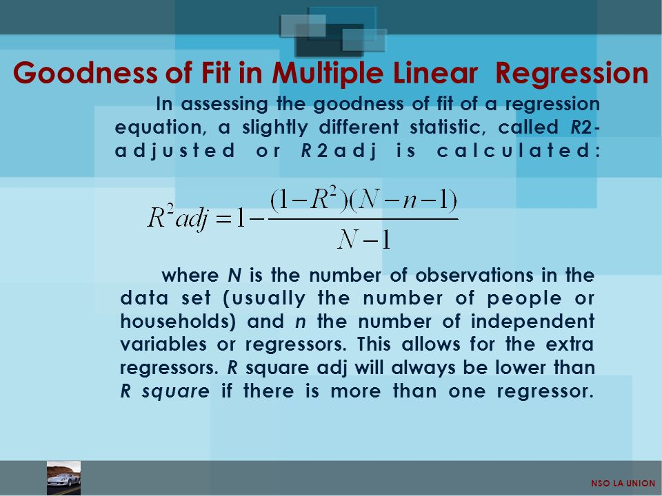 NSO LA UNION In assessing the goodness of fit of a regression equation, a slightly different statistic, called R 2- adjusted or R 2adj is calculated: