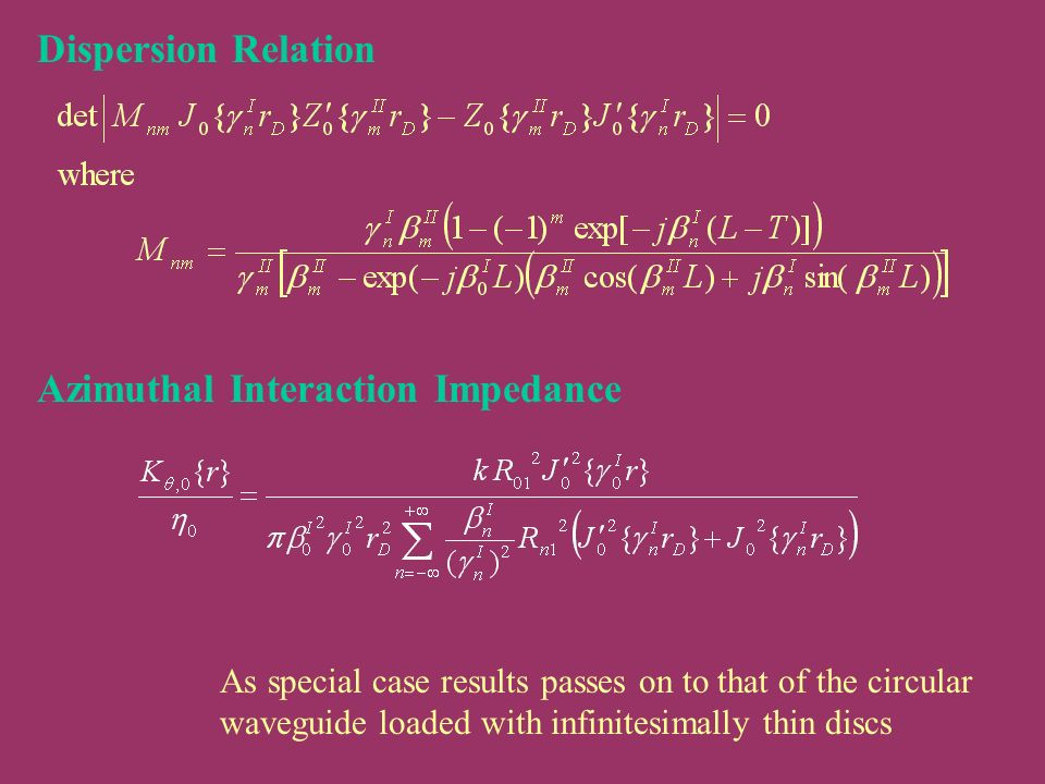 Dispersion Relation Azimuthal Interaction Impedance As special case results passes on to that of the circular waveguide loaded with infinitesimally th