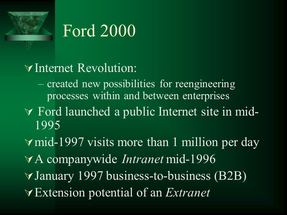 Ford 2000 Internet Revolution: –created new possibilities for reengineering processes within and between enterprises Ford launched a public Internet site in mid- 1995 mid-1997 visits more than 1 million per day A companywide Intranet mid-1996 January 1997 business-to-business (B2B) Extension potential of an Extranet