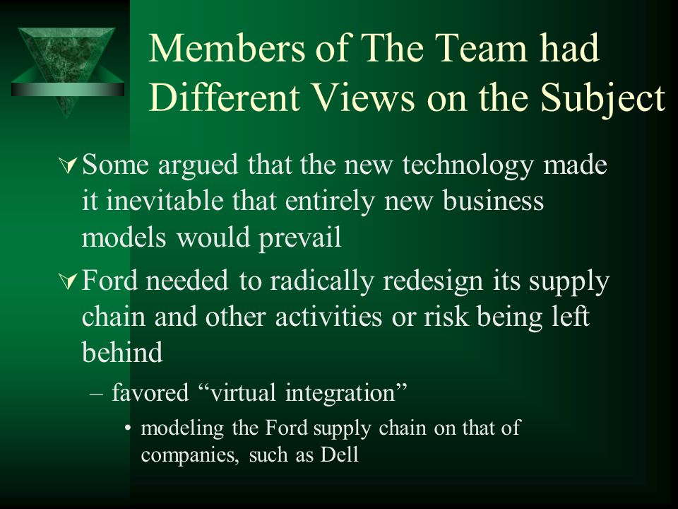 Members of The Team had Different Views on the Subject Some argued that the new technology made it inevitable that entirely new business models would prevail Ford needed to radically redesign its supply chain and other activities or risk being left behind –favored virtual integration modeling the Ford supply chain on that of companies, such as Dell