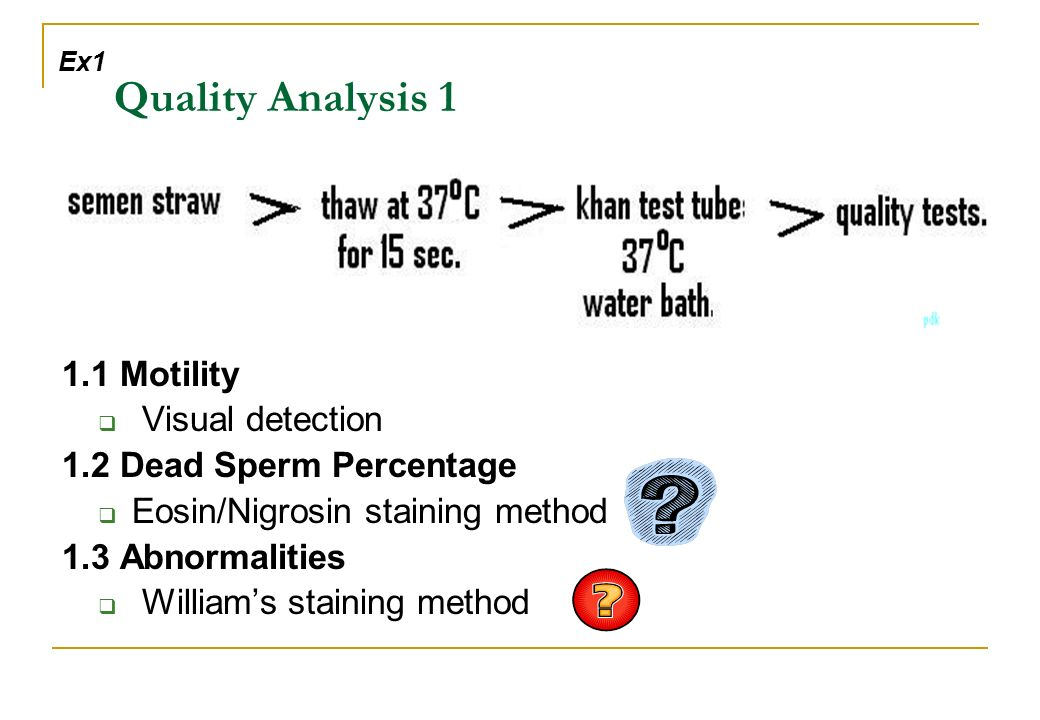 Quality Analysis 1 1.1 Motility Visual detection 1.2 Dead Sperm Percentage Eosin/Nigrosin staining method 1.3 Abnormalities Williams staining method Ex1