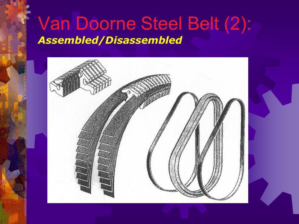 Van Doorne Steel Belt (1): oAlmost all of todays belt driven CVTs use this design invented by Dutch CVT specialist Van Doorne.