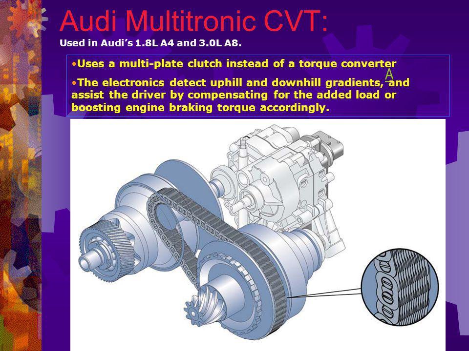 CVT Simulation: Audi A6 Multitronic Audi A6 3.0 L 0-60 mphMileage A6 5-speed manual 8.2 sec 9.9 litre / 100km A6 5-speed Tiptronic 9.4 sec 10.6 liter 100km A6 Multitronic CVT 8.1 sec 9.7 litre / 100km