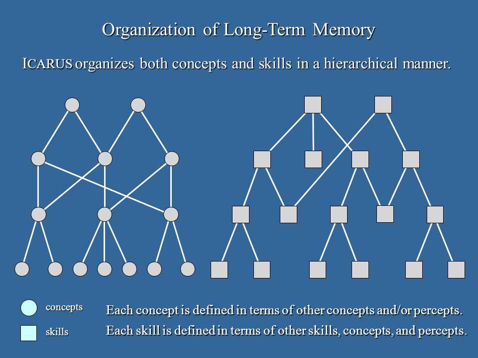 Organization of Long-Term Memory concepts skills Each concept is defined in terms of other concepts and/or percepts.
