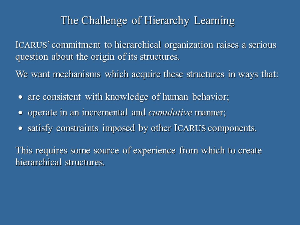 The Challenge of Hierarchy Learning are consistent with knowledge of human behavior; are consistent with knowledge of human behavior; operate in an incremental and cumulative manner; operate in an incremental and cumulative manner; satisfy constraints imposed by other I CARUS components.