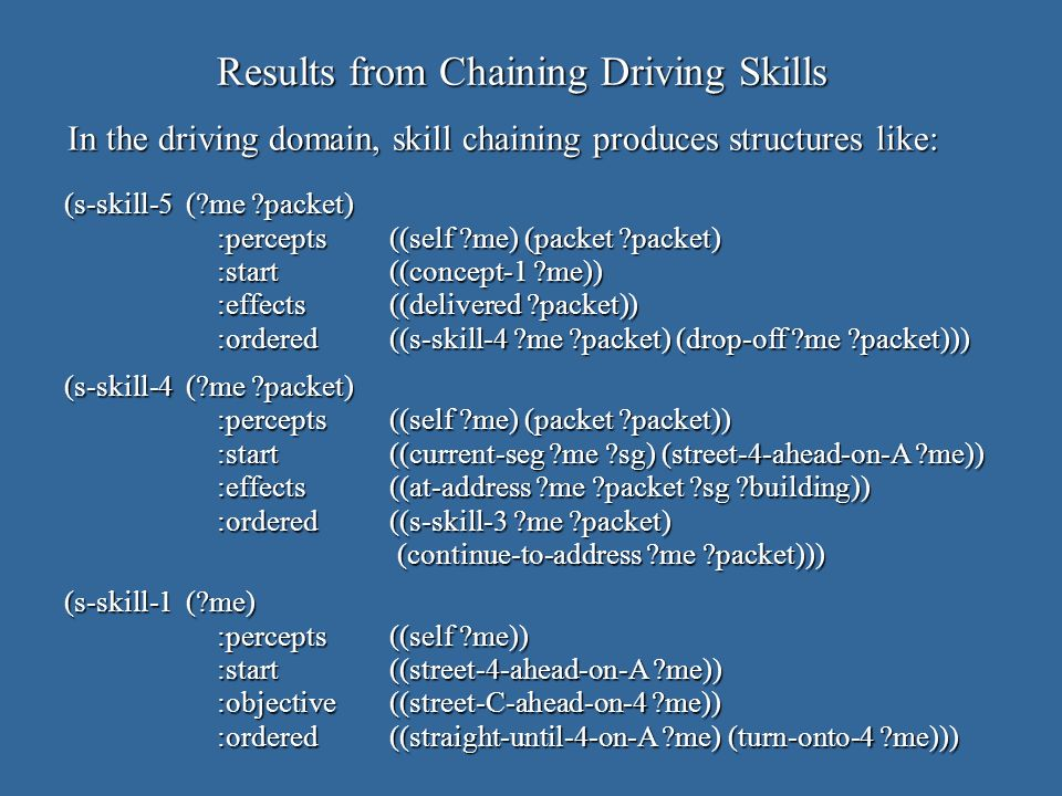 Results from Chaining Driving Skills In the driving domain, skill chaining produces structures like: (s-skill-5 ( me packet) :percepts((self me) (packet packet) :start((concept-1 me)) :effects((delivered packet)) :ordered((s-skill-4 me packet) (drop-off me packet))) (s-skill-4 ( me packet) :percepts((self me) (packet packet)) :start((current-seg me sg) (street-4-ahead-on-A me)) :effects((at-address me packet sg building)) :ordered((s-skill-3 me packet) (continue-to-address me packet))) (continue-to-address me packet))) (s-skill-1 ( me) :percepts((self me)) :start((street-4-ahead-on-A me)) :objective((street-C-ahead-on-4 me)) :ordered((straight-until-4-on-A me) (turn-onto-4 me)))
