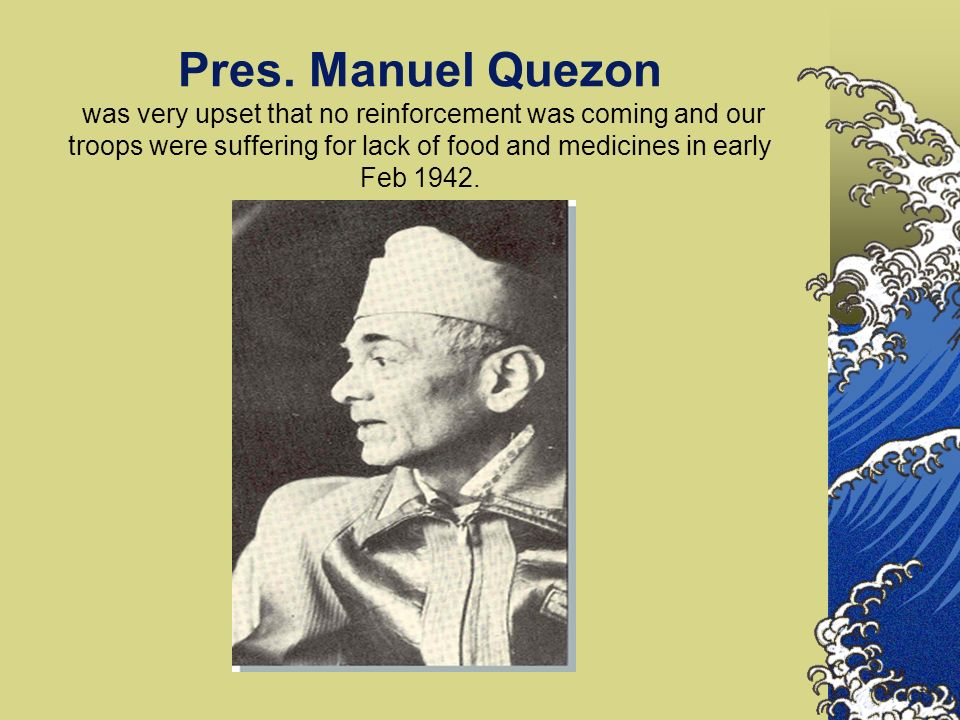 February 1, 1942 - continued Later, I proceeded to the Lateral of the Quezon Family to deliver Maj Rueda s pancit molo.