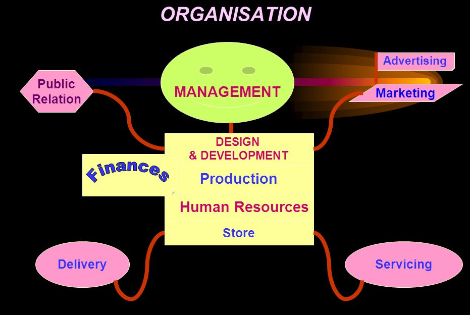 ORGANISATION MANAGEMENT DESIGN & DEVELOPMENT Production Human Resources Store Advertising Marketing ServicingDelivery Public Relation