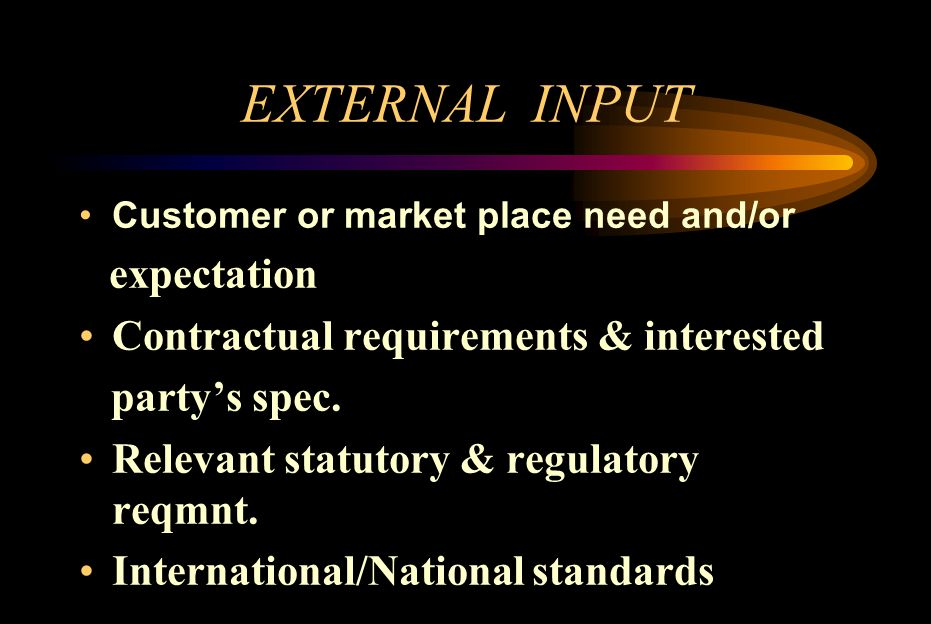 EXTERNAL INPUT Customer or market place need and/or expectation Contractual requirements & interested partys spec. Relevant statutory & regulatory req