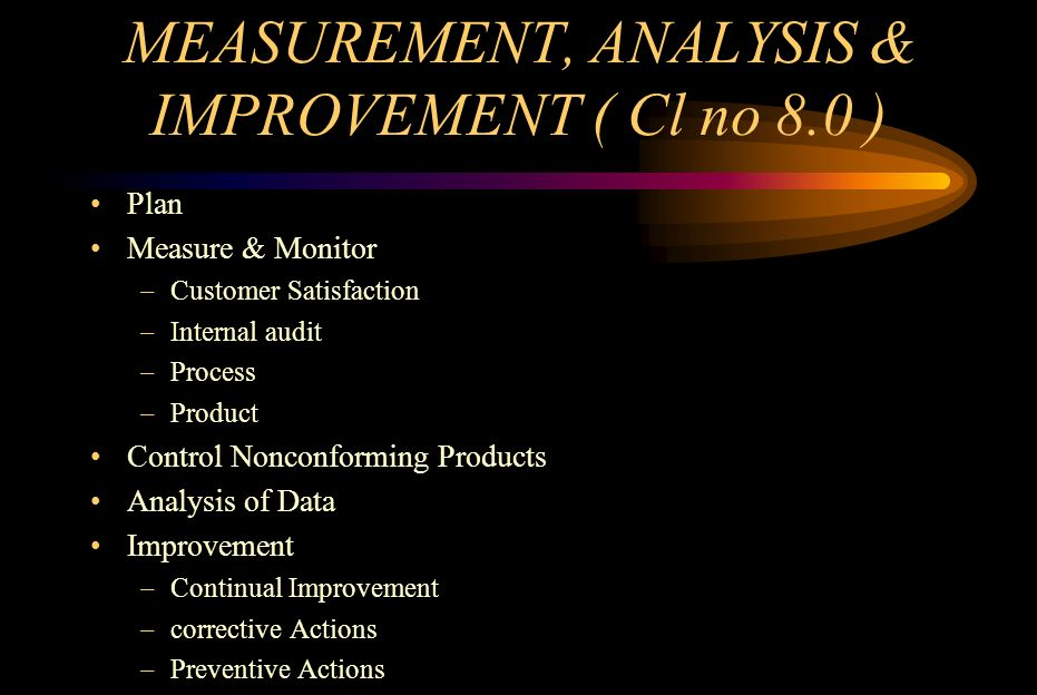 MEASUREMENT, ANALYSIS & IMPROVEMENT ( Cl no 8.0 ) Plan Measure & Monitor –Customer Satisfaction –Internal audit –Process –Product Control Nonconformin