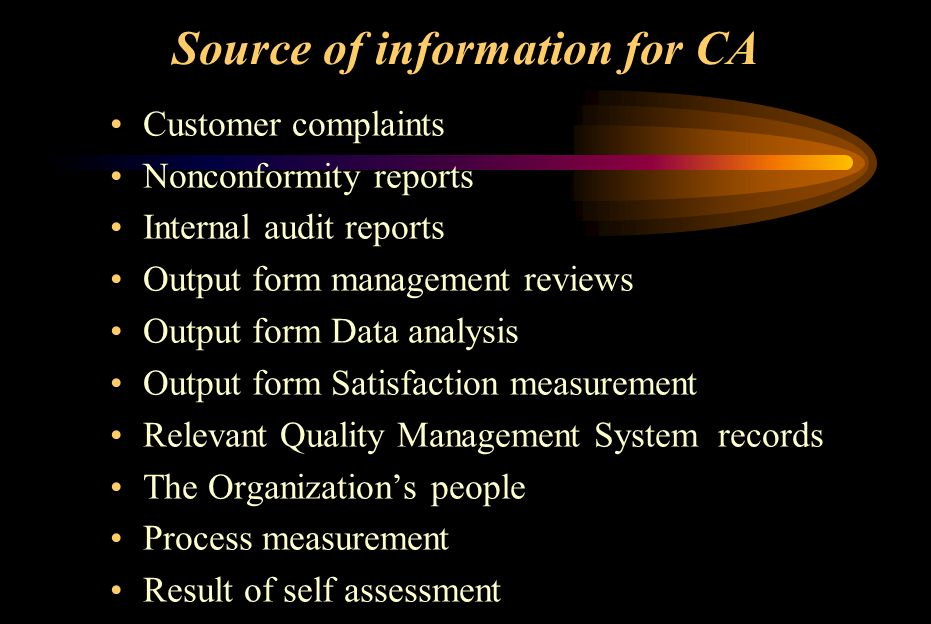 Source of information for CA Customer complaints Nonconformity reports Internal audit reports Output form management reviews Output form Data analysis