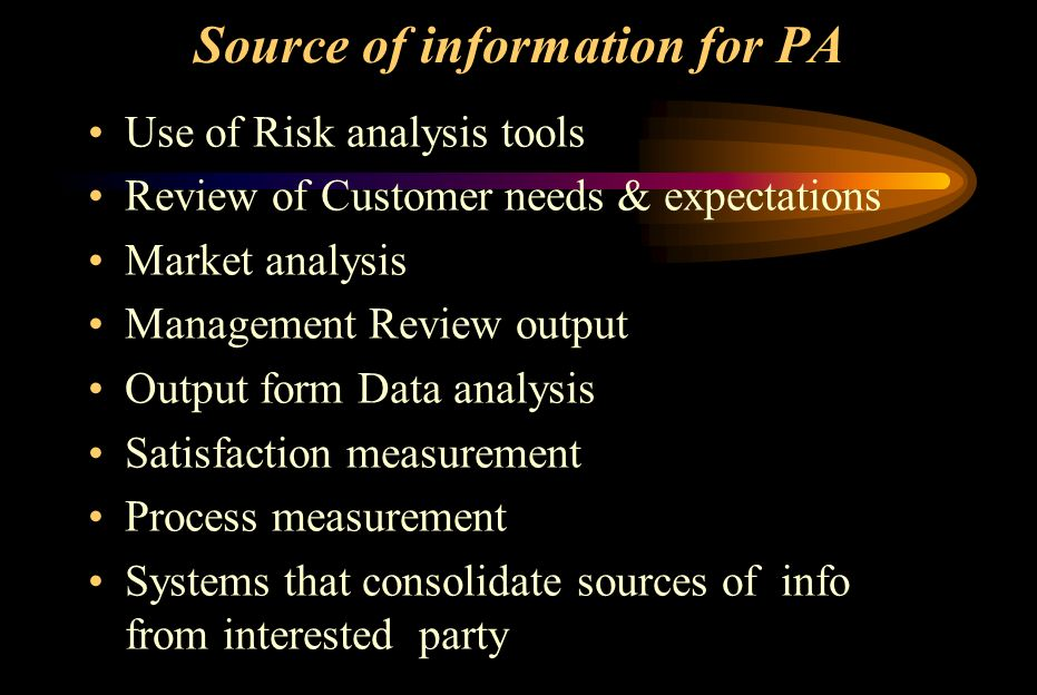Source of information for PA Use of Risk analysis tools Review of Customer needs & expectations Market analysis Management Review output Output form D