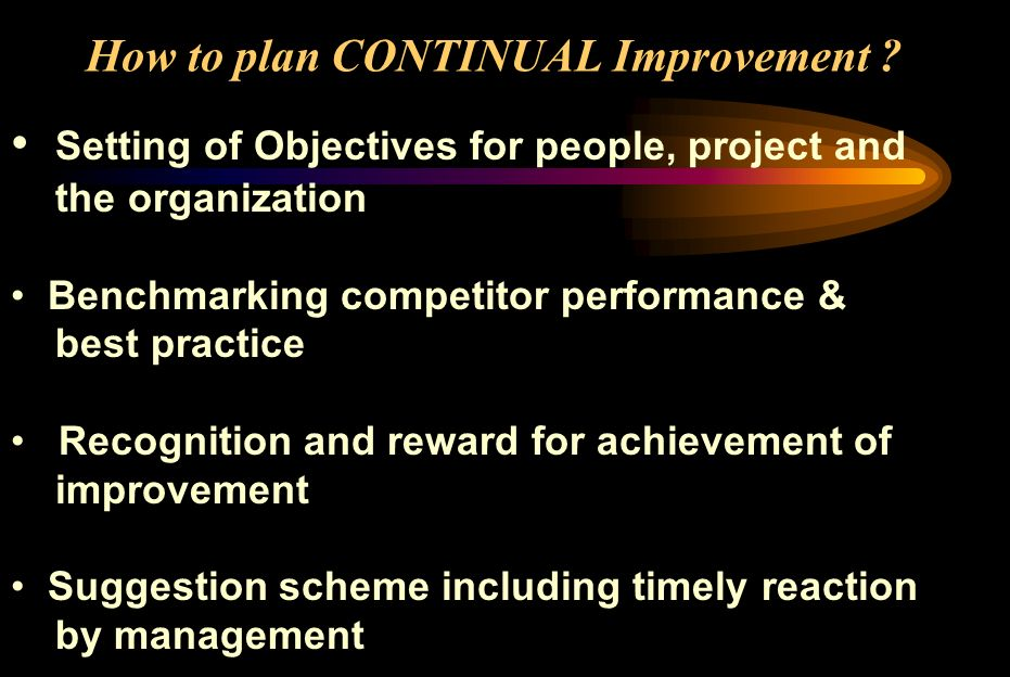 How to plan CONTINUAL Improvement ? Setting of Objectives for people, project and the organization Benchmarking competitor performance & best practice