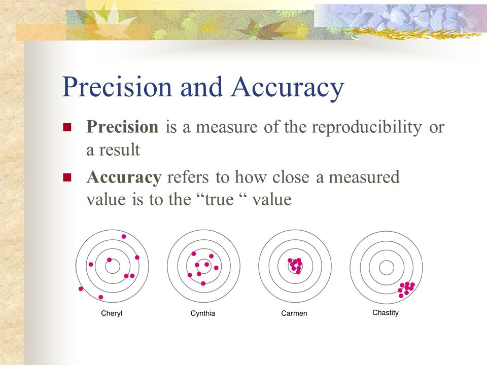 Precision and Accuracy Precision is a measure of the reproducibility or a result Accuracy refers to how close a measured value is to the true value