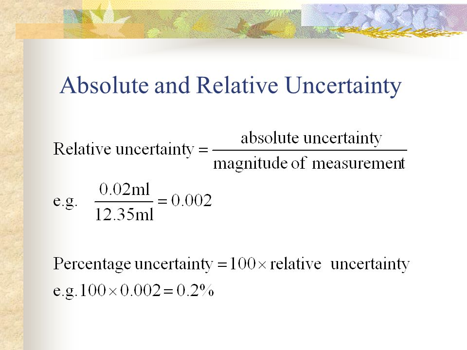 Absolute and Relative Uncertainty