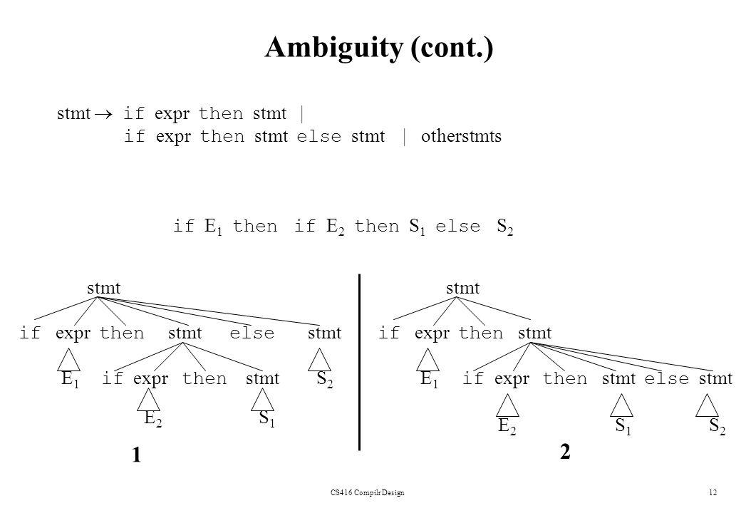 CS416 Compilr Design12 Ambiguity (cont.) stmt if expr then stmt | if expr then stmt else stmt | otherstmts if E 1 then if E 2 then S 1 else S 2 stmt i