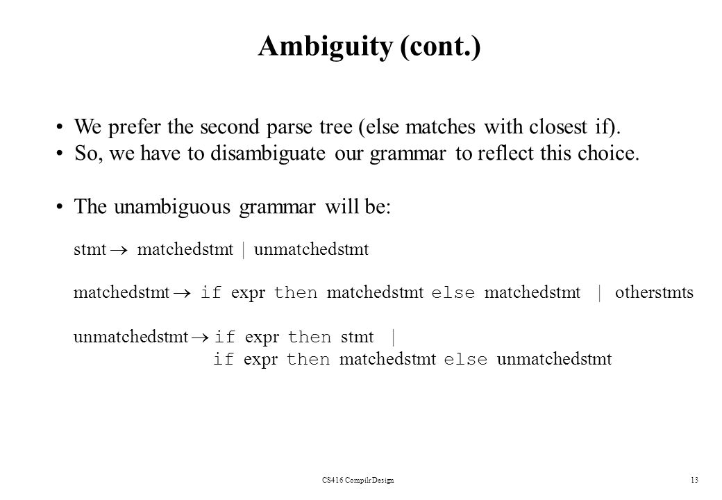 CS416 Compilr Design13 Ambiguity (cont.) We prefer the second parse tree (else matches with closest if). So, we have to disambiguate our grammar to re