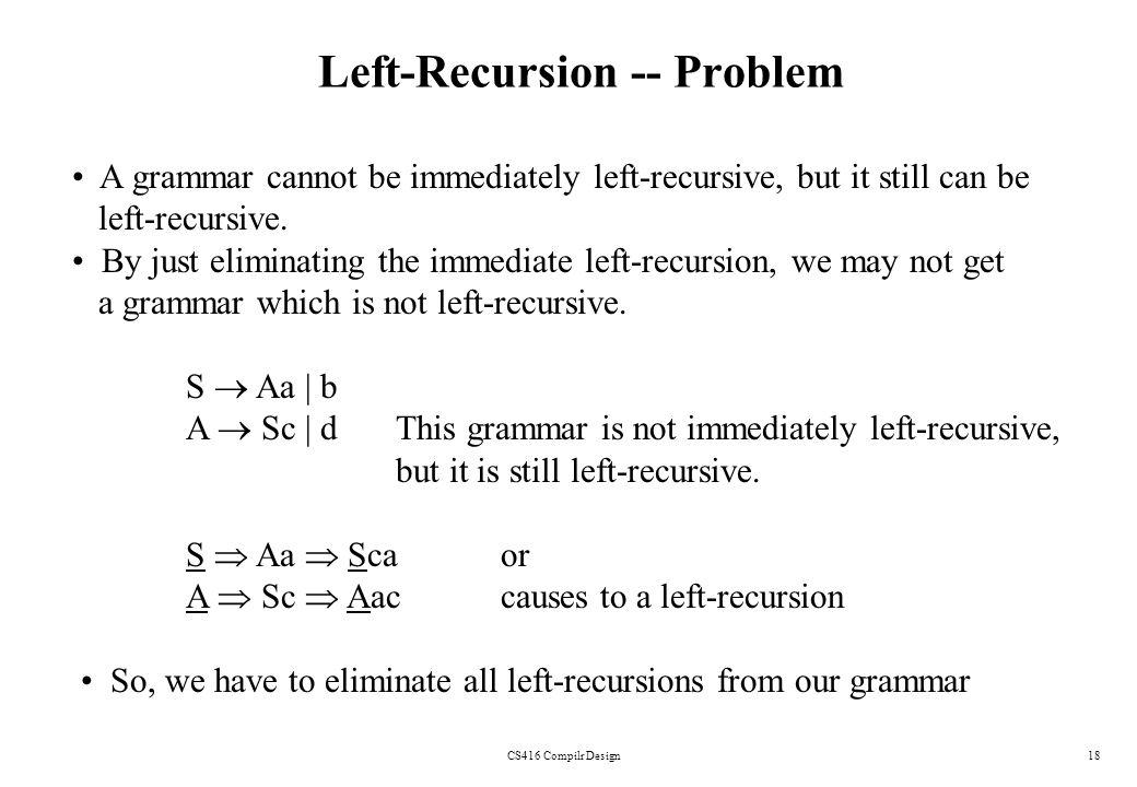 CS416 Compilr Design18 Left-Recursion -- Problem A grammar cannot be immediately left-recursive, but it still can be left-recursive. By just eliminati