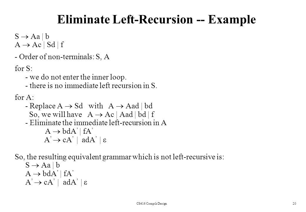 CS416 Compilr Design20 Eliminate Left-Recursion -- Example S Aa | b A Ac | Sd | f - Order of non-terminals: S, A for S: - we do not enter the inner lo