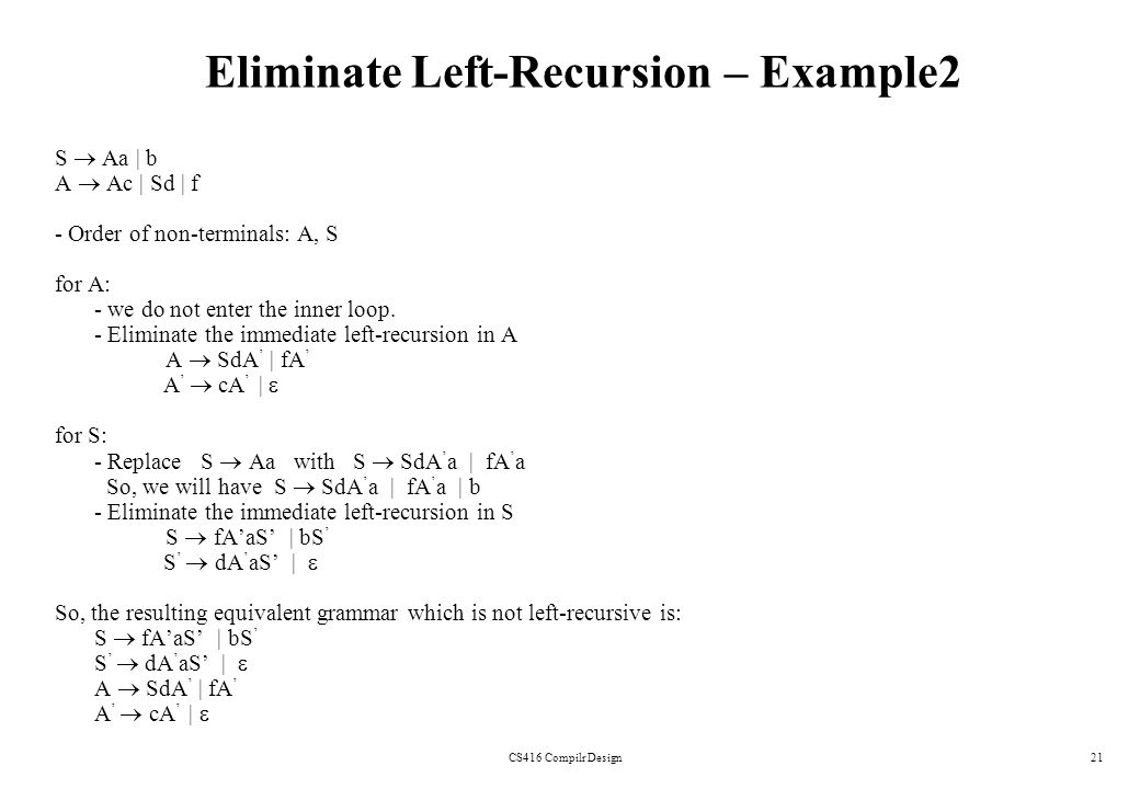 CS416 Compilr Design21 Eliminate Left-Recursion – Example2 S Aa | b A Ac | Sd | f - Order of non-terminals: A, S for A: - we do not enter the inner lo