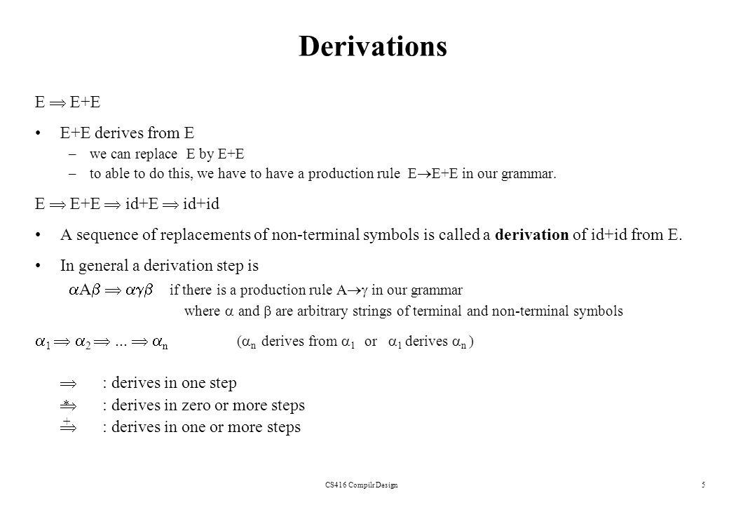 CS416 Compilr Design5 Derivations E E+E E+E derives from E –we can replace E by E+E –to able to do this, we have to have a production rule E E+E in ou