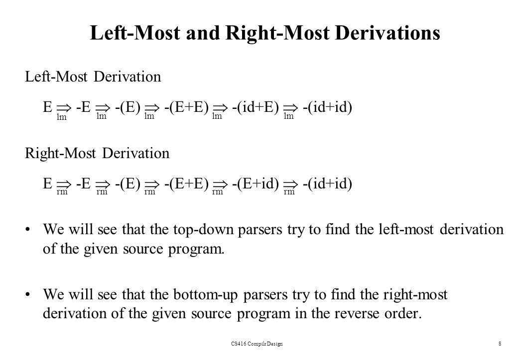 CS416 Compilr Design8 Left-Most and Right-Most Derivations Left-Most Derivation E -E -(E) -(E+E) -(id+E) -(id+id) Right-Most Derivation E -E -(E) -(E+