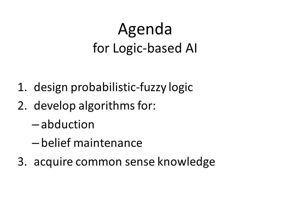 Agenda for Logic-based AI 1.design probabilistic-fuzzy logic 2.develop algorithms for: – abduction – belief maintenance 3.acquire common sense knowledge