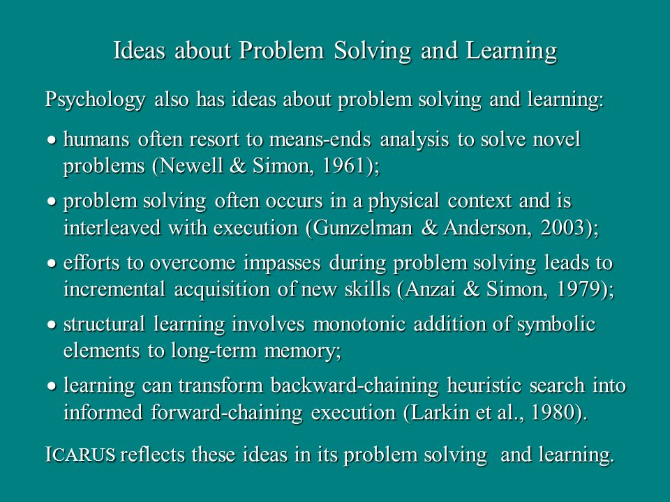 humans often resort to means-ends analysis to solve novel problems (Newell & Simon, 1961); humans often resort to means-ends analysis to solve novel problems (Newell & Simon, 1961); problem solving often occurs in a physical context and is interleaved with execution (Gunzelman & Anderson, 2003); problem solving often occurs in a physical context and is interleaved with execution (Gunzelman & Anderson, 2003); efforts to overcome impasses during problem solving leads to incremental acquisition of new skills (Anzai & Simon, 1979); efforts to overcome impasses during problem solving leads to incremental acquisition of new skills (Anzai & Simon, 1979); structural learning involves monotonic addition of symbolic elements to long-term memory; structural learning involves monotonic addition of symbolic elements to long-term memory; learning can transform backward-chaining heuristic search into informed forward-chaining execution (Larkin et al., 1980).