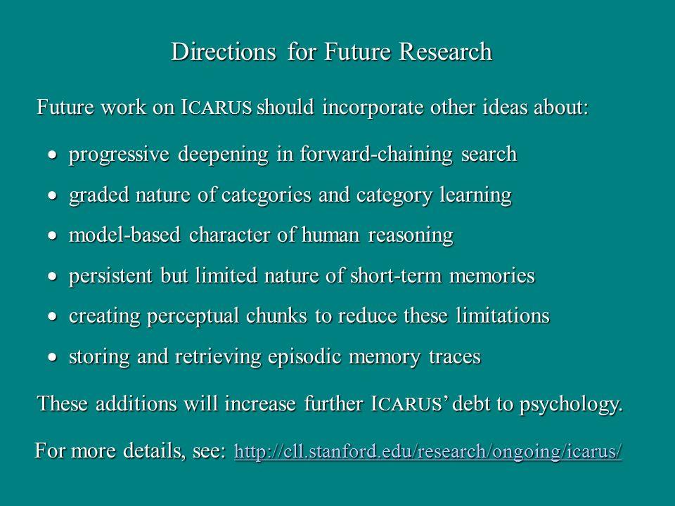 Directions for Future Research progressive deepening in forward-chaining search progressive deepening in forward-chaining search graded nature of cate