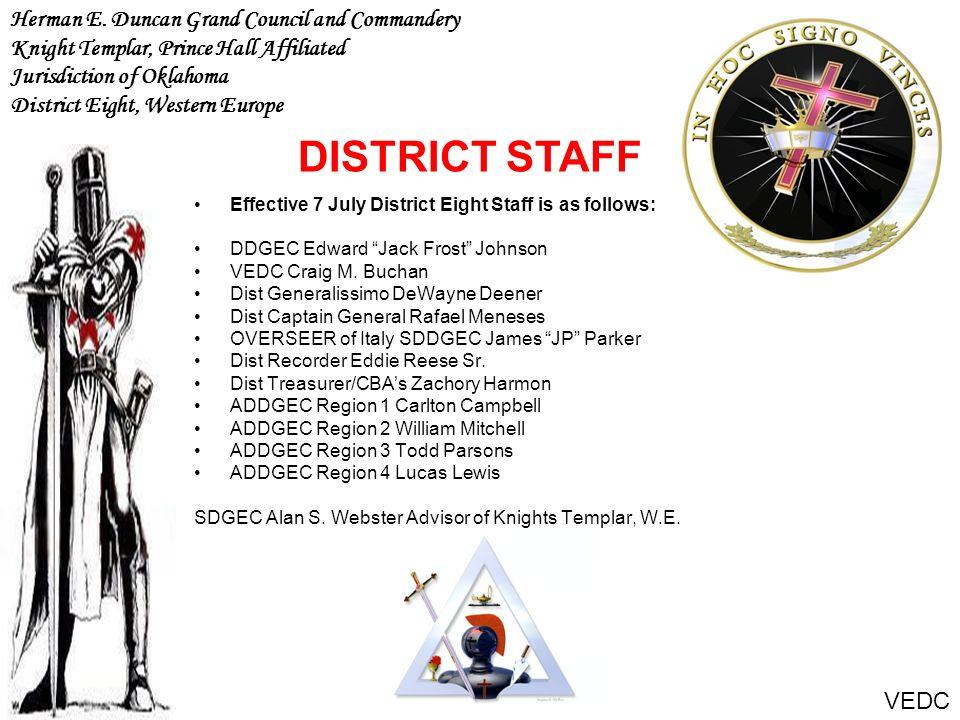 Effective 7 July District Eight Staff is as follows: DDGEC Edward Jack Frost Johnson VEDC Craig M. Buchan Dist Generalissimo DeWayne Deener Dist Capta