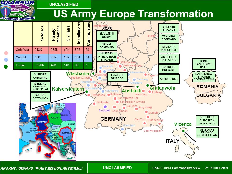 AN ARMY FORWARD ANY MISSION, ANYWHERE! 21 October 2006 UNCLASSIFIED USAREUR/7A Command Overview UNCLASSIFIED Bayreuth Amberg Nurnberg Munich Berchtesg