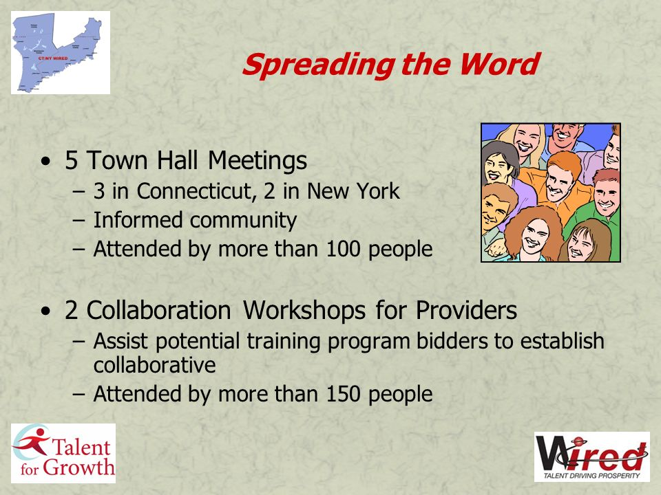 Spreading the Word 5 Town Hall Meetings –3 in Connecticut, 2 in New York –Informed community –Attended by more than 100 people 2 Collaboration Workshops for Providers –Assist potential training program bidders to establish collaborative –Attended by more than 150 people