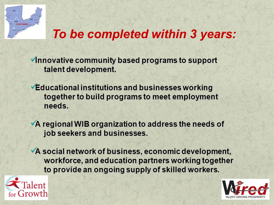 To be completed within 3 years: Innovative community based programs to support talent development.