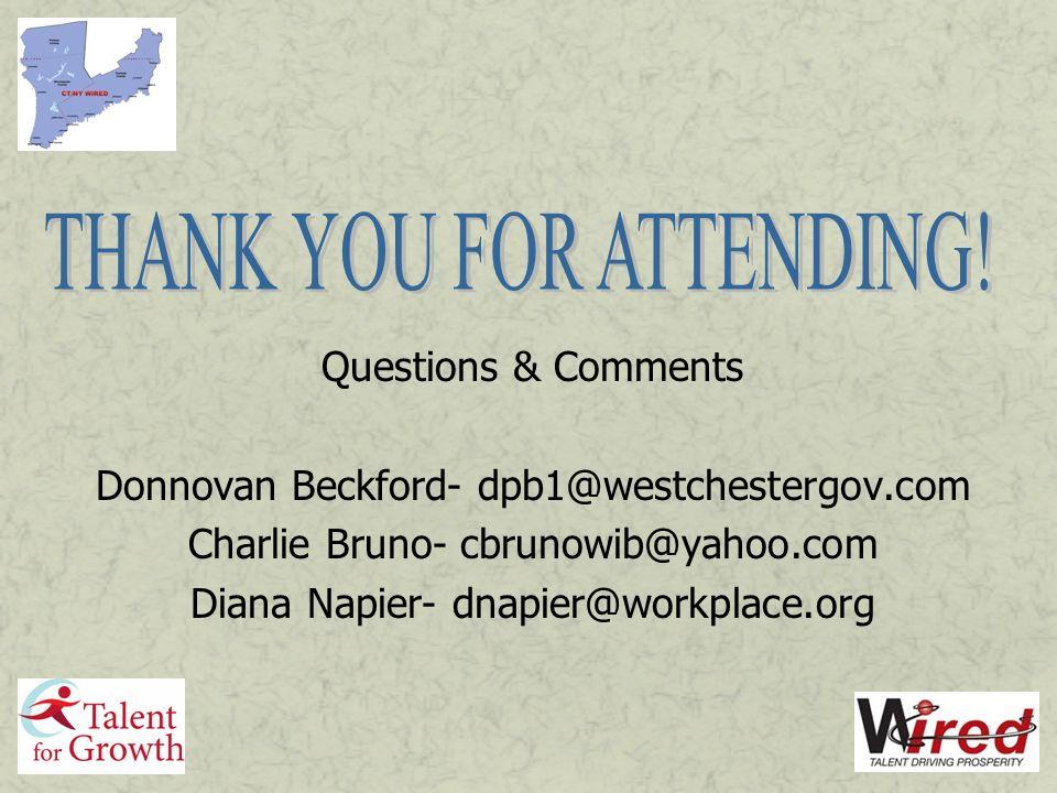 Questions & Comments Donnovan Beckford- dpb1@westchestergov.com Charlie Bruno- cbrunowib@yahoo.com Diana Napier- dnapier@workplace.org