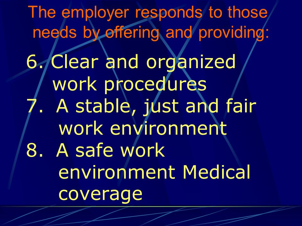 10.An atmosphere of teamwork and cooperation 11.Social activities 12.Reward and recognition programs The employer responds to those needs by offering and providing: