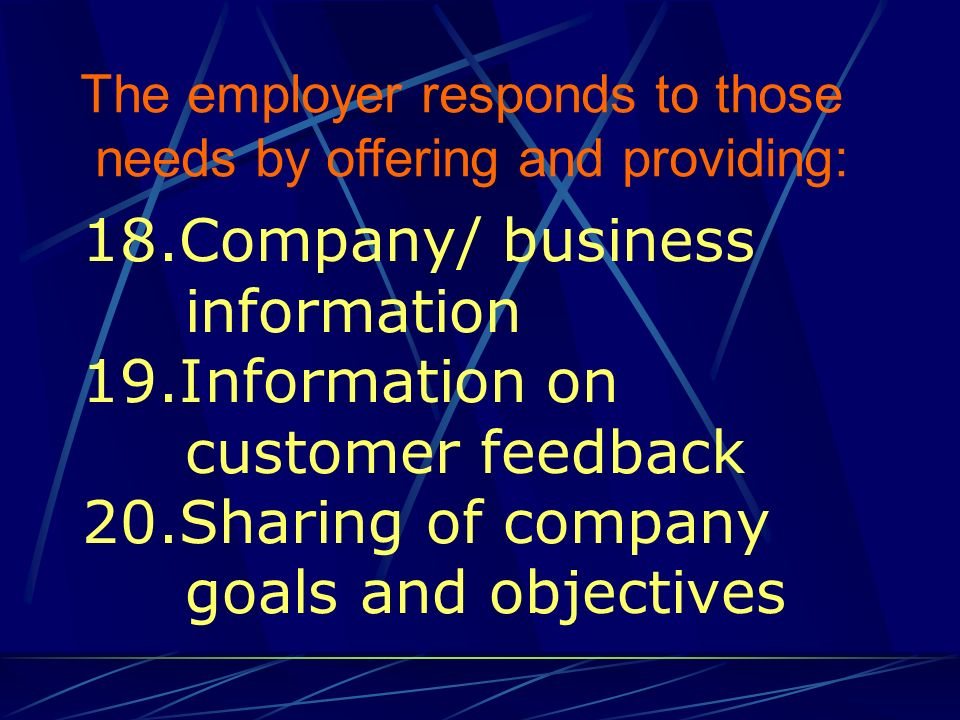 18.Company/ business information 19.Information on customer feedback 20.Sharing of company goals and objectives The employer responds to those needs b