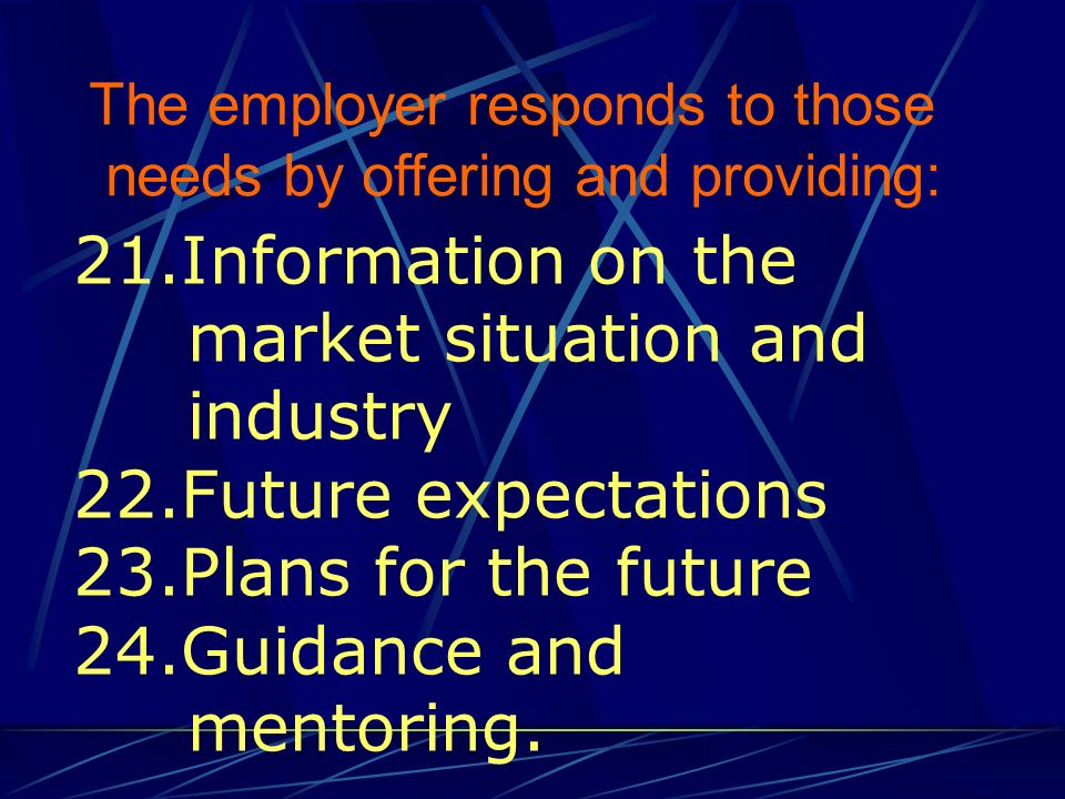 21.Information on the market situation and industry 22.Future expectations 23.Plans for the future 24.Guidance and mentoring. The employer responds to