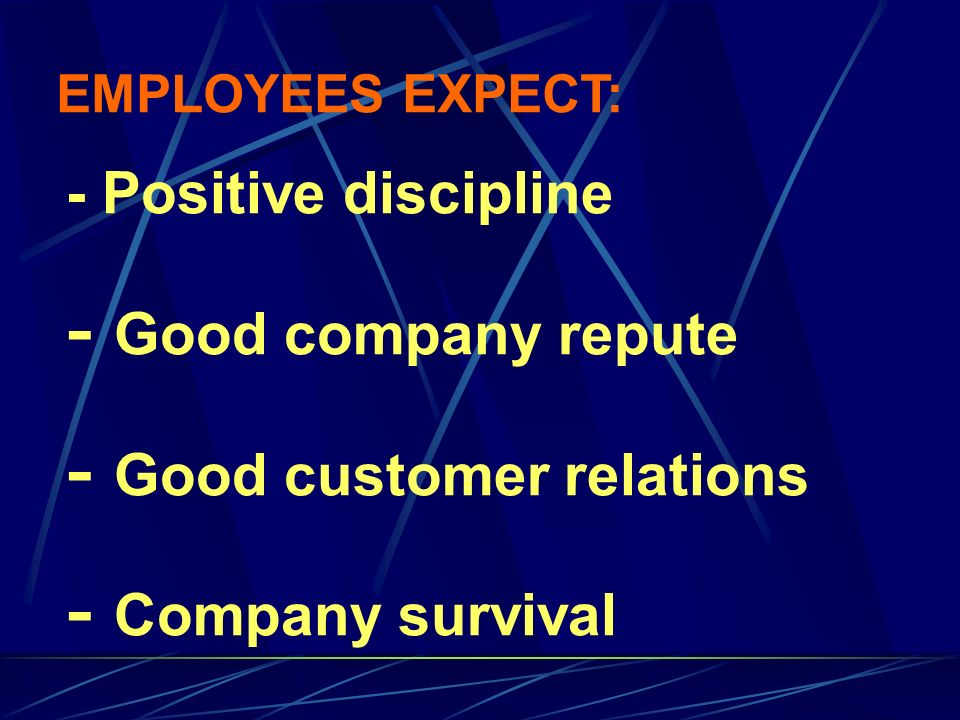 - Positive discipline - Good company repute - Good customer relations - Company survival EMPLOYEES EXPECT: