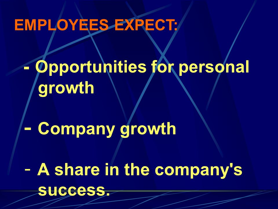 - Opportunities for personal growth - Company growth - A share in the company's success. EMPLOYEES EXPECT: