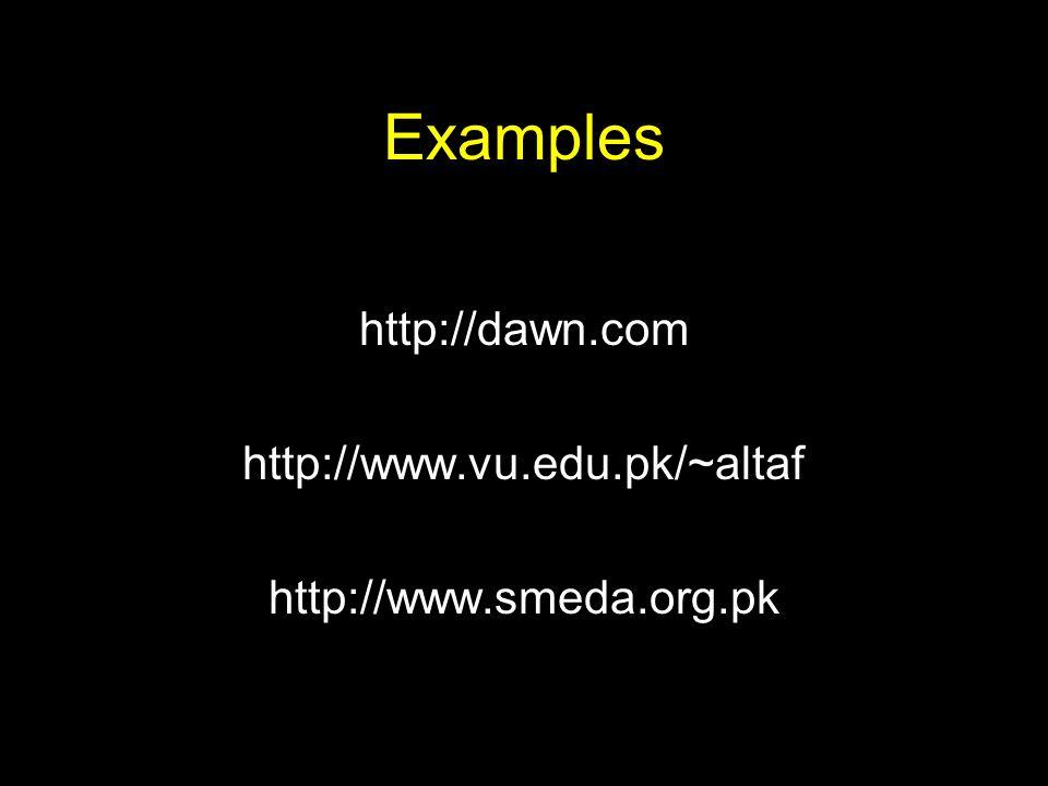 Examples http://dawn.com http://www.vu.edu.pk/~altaf http://www.smeda.org.pk