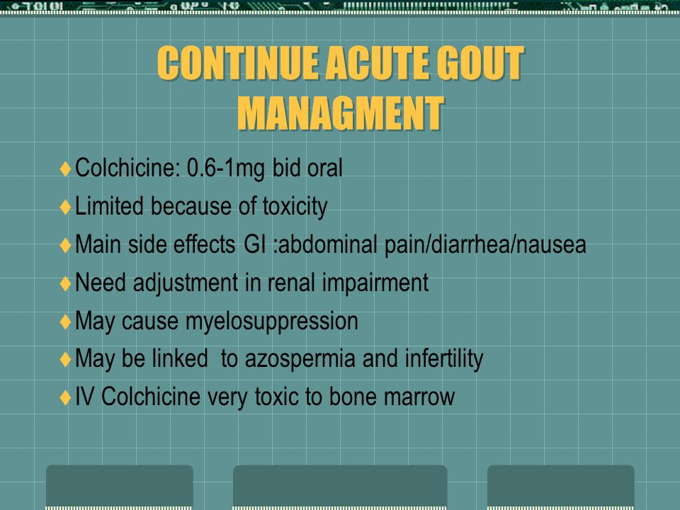 MANAGEMENT OF ACUTE GOUT NSAID:indomethacin used more than other NSAIDs my use any other NSAIDs at full dose like ibuprofen 800mg TID or Naprosyn 500m