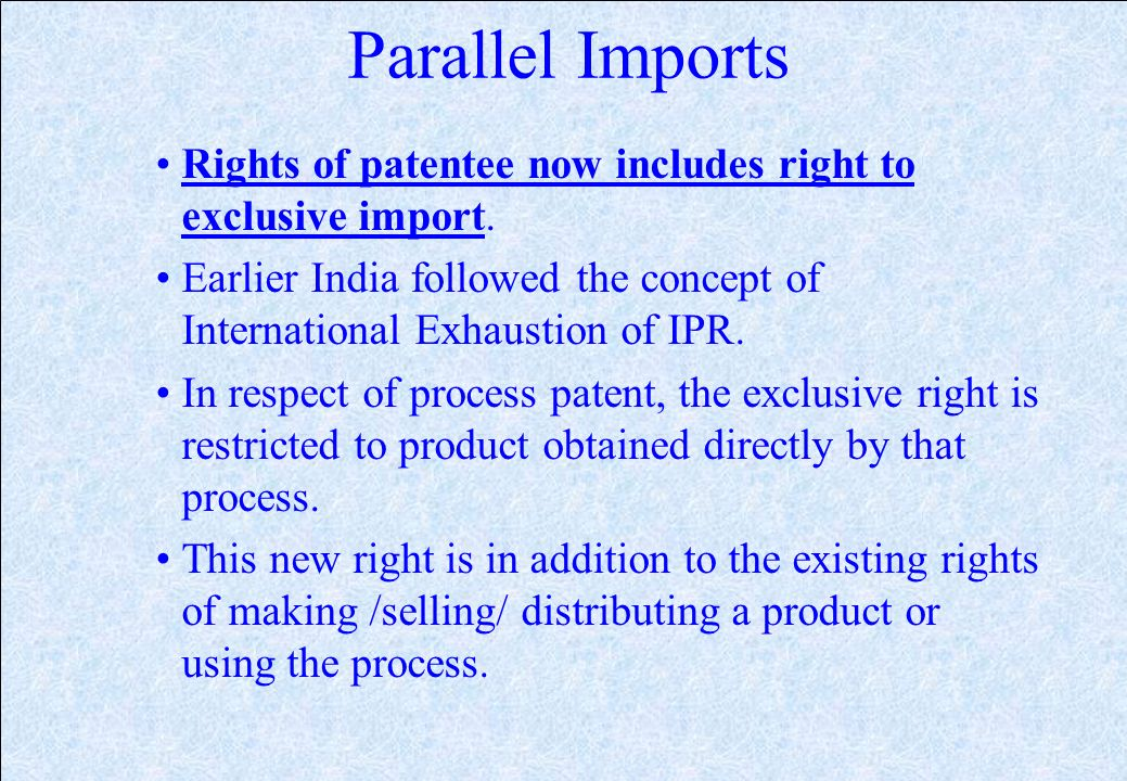 Burden of Proof In case of Process Patent once the Patentee proves that the infringing product is identical to his patented product, burden of proving