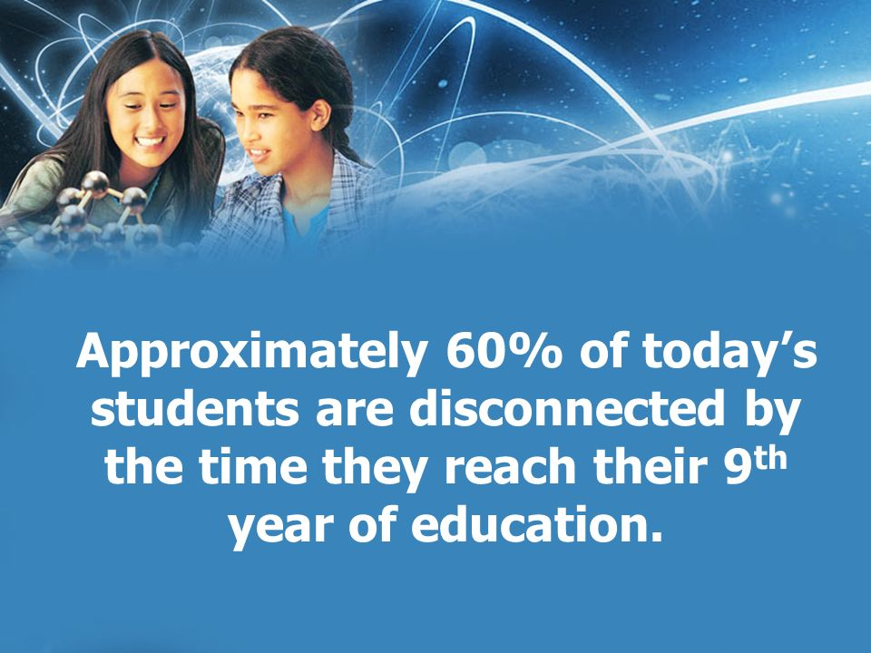 Approximately 60% of todays students are disconnected by the time they reach their 9 th year of education.